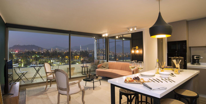 cocina living departamento 82m2 edificio Las Dalias