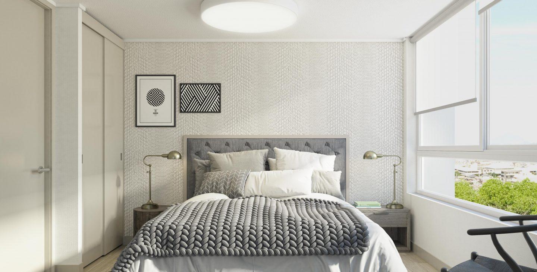 cama de dos plazas en el dormitorio edificio Las Heras