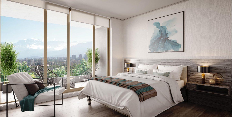 dormitorio con cama de dos plazas y ventanal