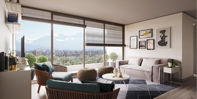 living con sillones y una mesita frente a un ventanal