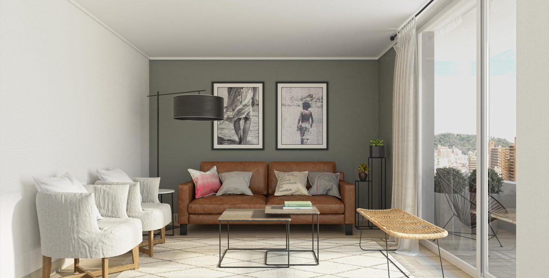sillón y sillas del living departamento edificio Las Heras