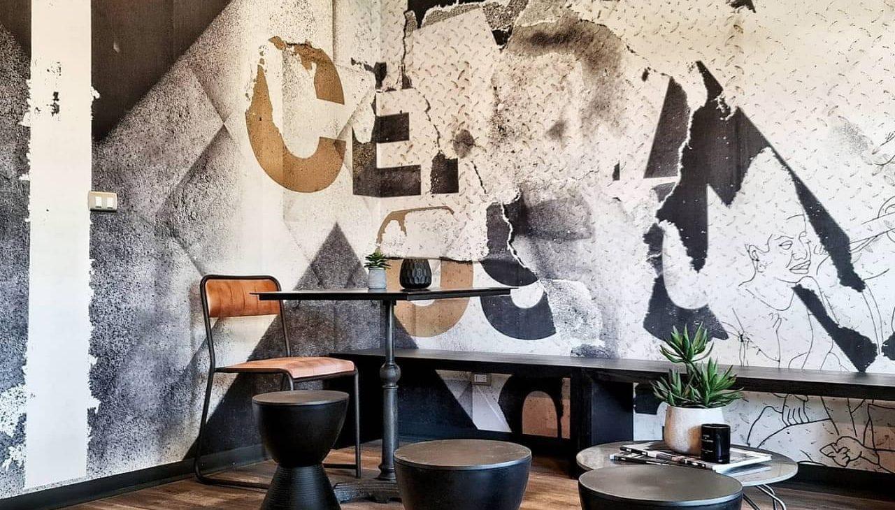 mural abstracto work space edificio Las Dalias